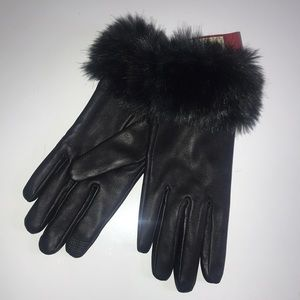 Black faux fur leather gloves